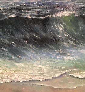 Картина маслом в интерьер «Волна»