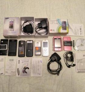 4 телефона + зарядки + наушники