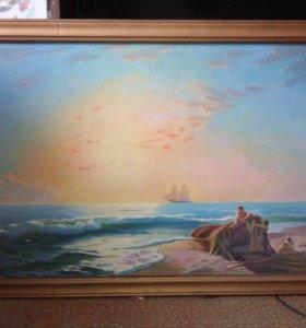 Картина рыбаки на берегу моря