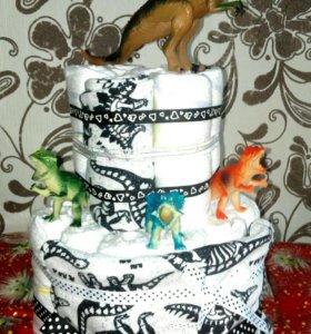 Торт из памперсов «динозаврик»