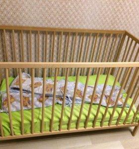 Детская кровать ikea с матрасом