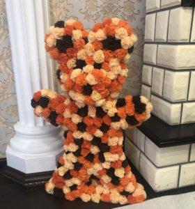 Мишка из бумажных цветочков