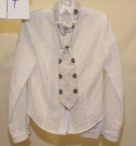 Нарядная белая рубашка с галстуком 140-146р