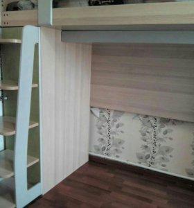 Кровать чердак со шкафами.