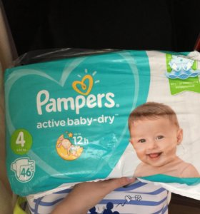 Подгузники pampers active baby-dry 4 9-14 кг 46 шт