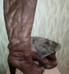 Сапоги, 39 размер, б/у, натуральная кожа