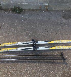 Лыжи беговые детские KARJALA 160 + палки Nordway