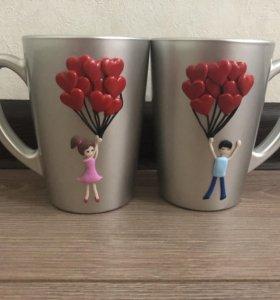Подарок для влюблённых. Кружки из полимерной глины