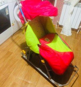 Санки - коляска с большими колёсами