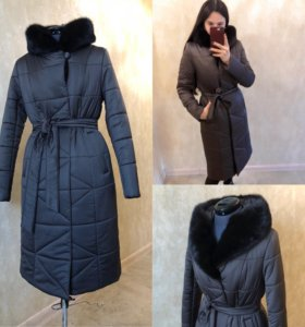 Пальто зимнее с норкой