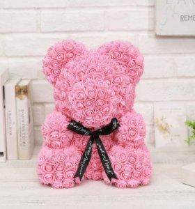 мишки из роз с сердцем 25 и 40 см