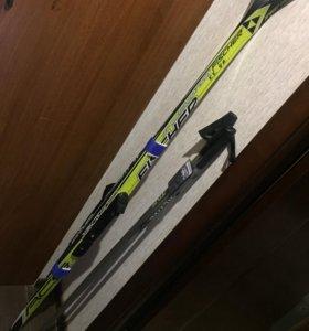 Лыжи FISCHER беговые с креплениями NNN, палки