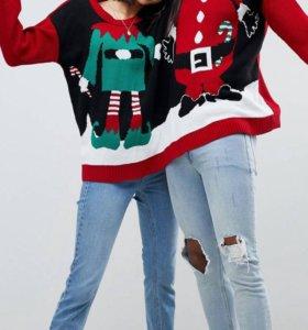 Новый трикотажный свитер Санта и Эльф для двоих 💖