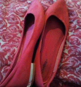 Туфли, балетки замшевые Centro розовые