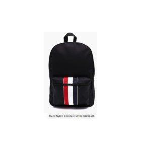 Black Nylon Contrast Stripe Backpack