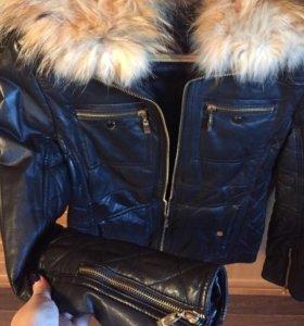 Куртка кожаная тёплая