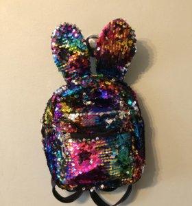 Радужный рюкзак из пайеток с ушками