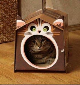 Картонный домик для кота и маска для ребенка