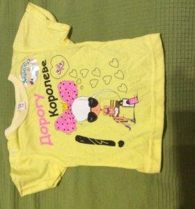 Новая футболка для девочек, р 74