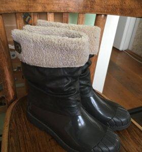 Сапоги зимние кожаные резиновые 36 мех для девочки