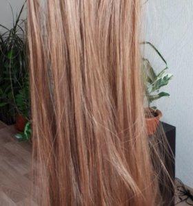 Волосы на заколках новые (каштан)