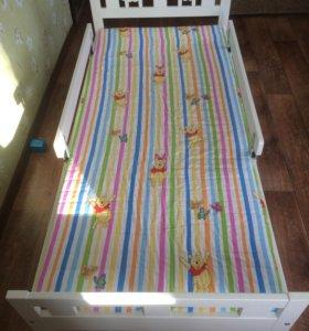 Детская кровать Икея + матрас и бортик, 160 см.