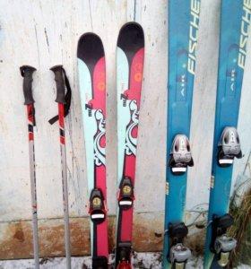 Лыжи горные с ботинками и палками