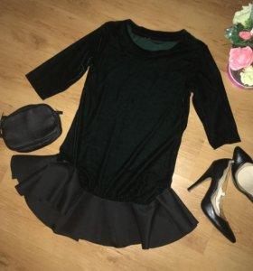 Платье зеленое бархат