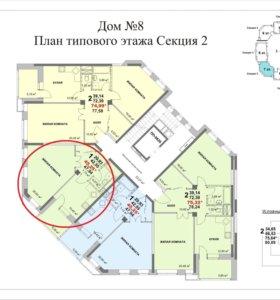 Квартира, свободная планировка, 47 м²