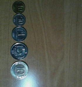 Последние монеты СССР.10,50 коп,1,5,10 руб.