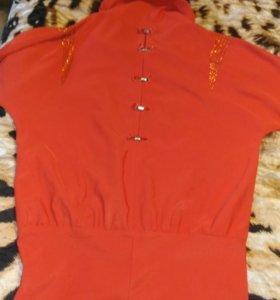 Новое оранжевое платье мини, Рукав летучая мышь