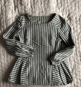 Хлопковая блузка с баской