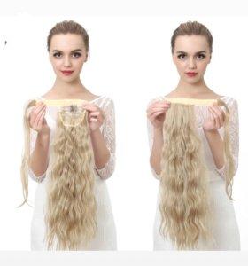 Волосы хвост на заколке