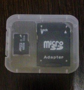 Карта памяти MicroSD 32 GB + адаптер + футляр