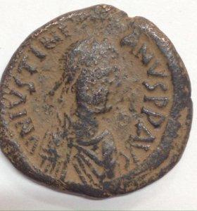 Монета Византии. Фоллис Юстиниана I. Оригинал