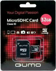 Карта памяти MicroSD 32GB Qumo Class 10 UHS-I + SD