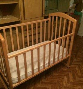 Кроватка + матрац + бортики