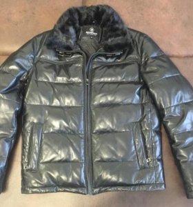 Кожаная зимняя куртка мужская