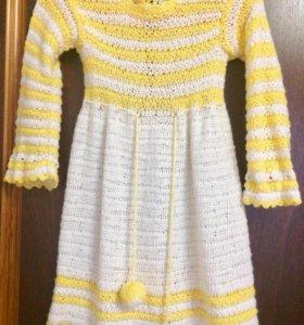 Вязаное платье 98-104 р (подарок)