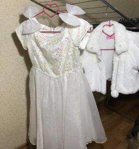 Продам детское платье. В подарок шубка