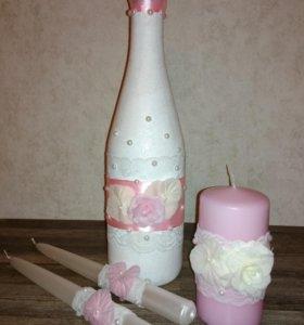 Свадебные свечи и шомпанское с цветами из фоамиран