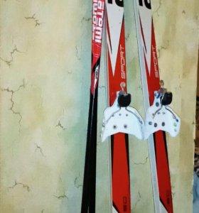 Лыжи atemi 150см + палки