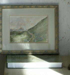 Картина, акварель. Горный пейзаж