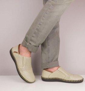 Мужские летние туфли Рикер (бежевые, натур. кожа)