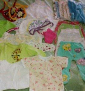 Вещи пакетом для девочки 0-3 месяцев