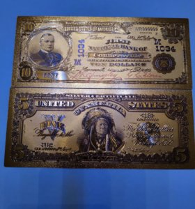 Банкноты доллары США в золоте 24 карат!