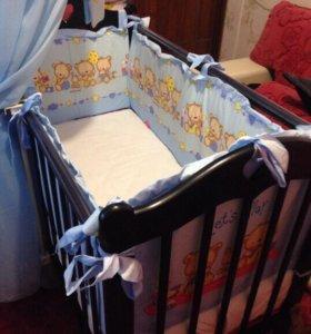 Кроватка детская, матрас, бортики