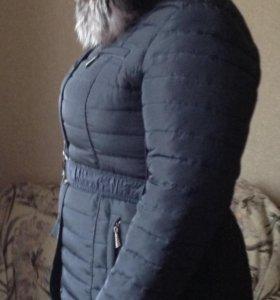 Пальто женское зимнее (натуральный мех чернобурки)