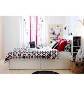 Кровать белая+матрас+реечное дно+2 тумбы
