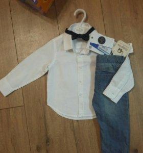 Новые Рубашка с бабочкой и джинсы 80-86 размера